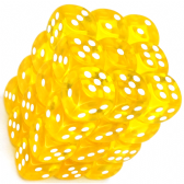 Yellow & White Translucent 12mm D6 Dice Block